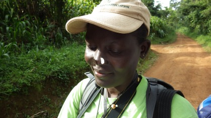 Butterfly ecologist Dr Perpetra Akite demonstrates her unusual collecting technique.