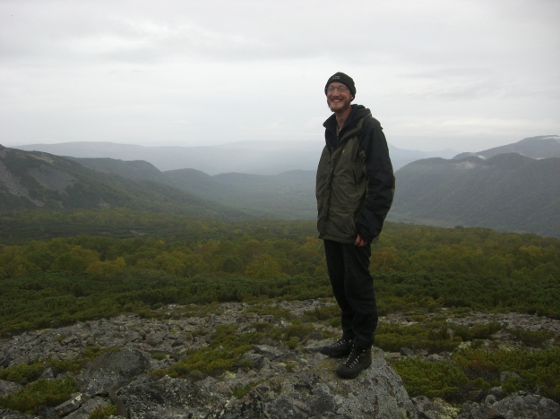 Me in my happy place. Look at all those trees! This is in central Kamchatka. Photo credit: Tim Kell.