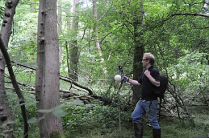 Joe trialling the Zeb1 hand-held laser scanner in Kirton Wood, Nottinghamshire.