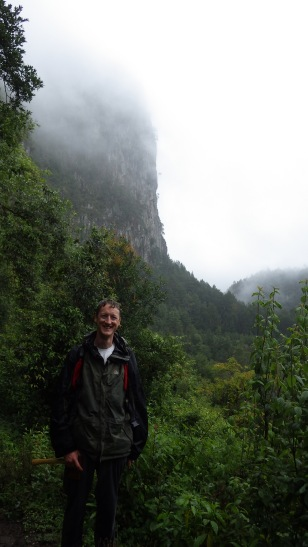 Bedraggled, but you can see the tall pines just upstream in the valley behind me.