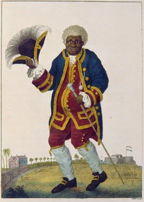 """The Celebrated Graman Quacy"", illustration by William Blake in Capt. John Gabriel Stedman, 1796 Narrative, of a five-years' expedition against the revolted Negroes of Surinam. This image represents copy 2, currently held by the Huntington Library and Art Gallery."